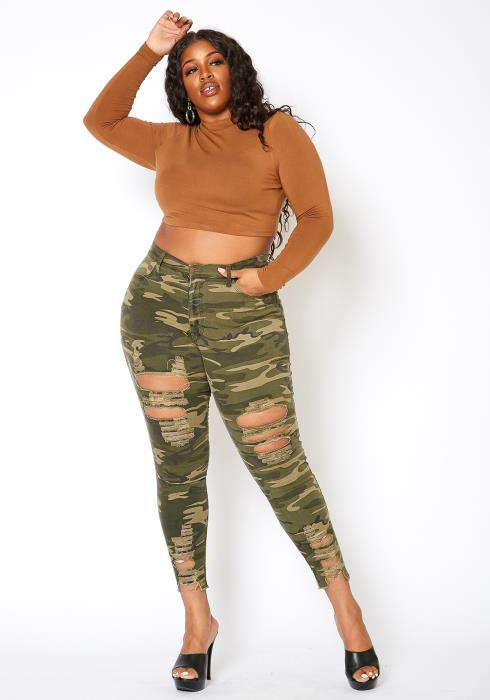 Vibrant Plus Size Ankle Distressed Favorite Mid Rise Jeans