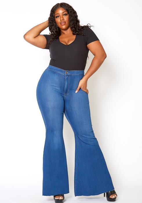 Vibrant Plus Size Retro Flare Raw Hem Jean