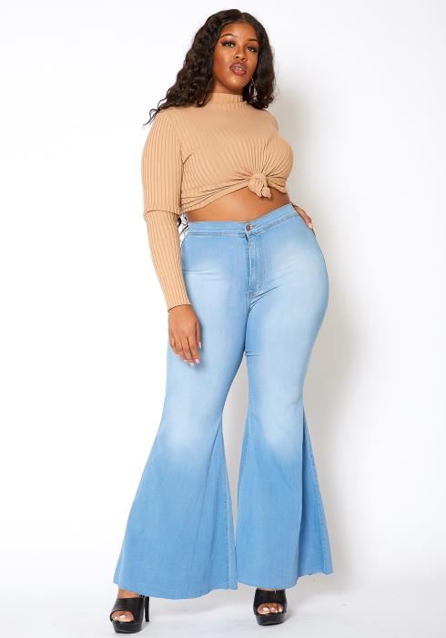 Vibrant Plus Size Retro Flare Raw Hem Denim Jean