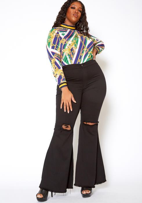 Vibrant Plus Size Knee Distressed Retro Bell Bottom Jean