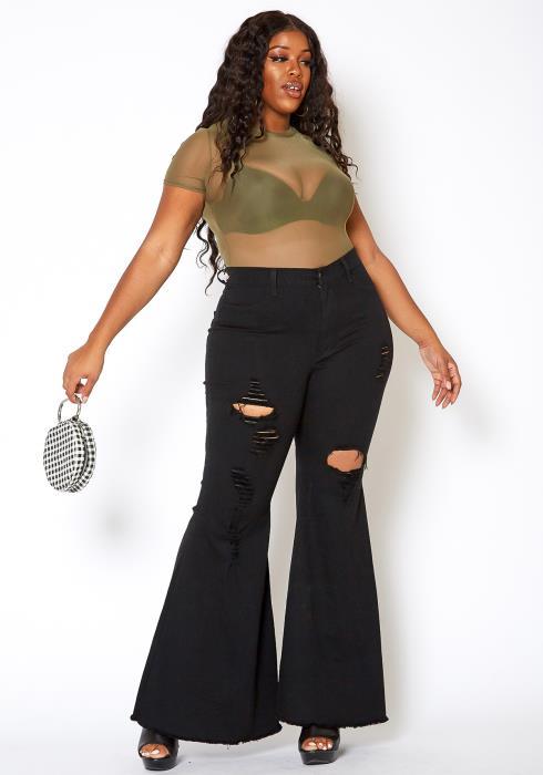 Vibrant Plus Size Bell Bottom Distressed Denim Jeans