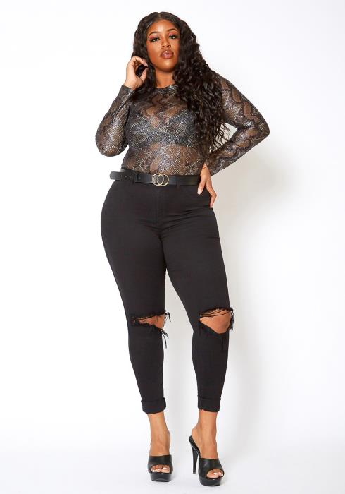 Vibrant Mid Rise Knee Distressed Plus Size Skinny Jean