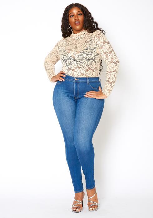 Vibrant Plus Size Colombian Bum Design Skinny Jeans