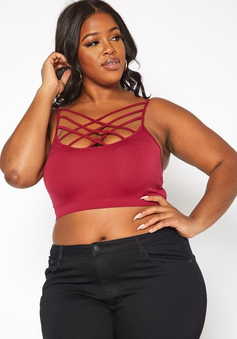 Asoph Plus Size Crosslace Design Sports Bralette