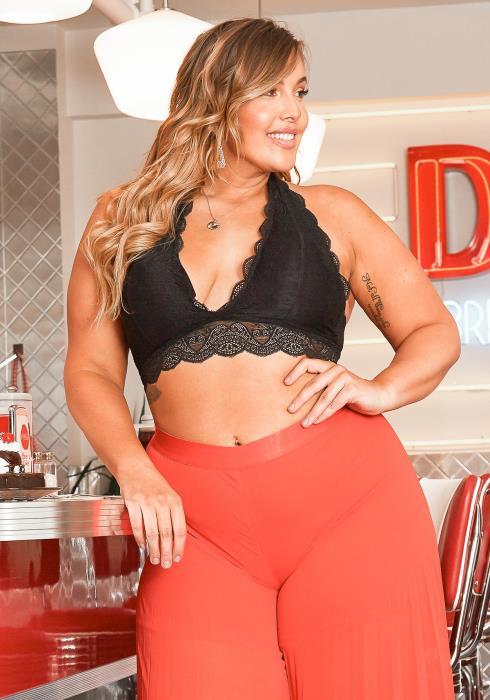 Asoph Plus Size Womens Halter Neck Lace Bralette