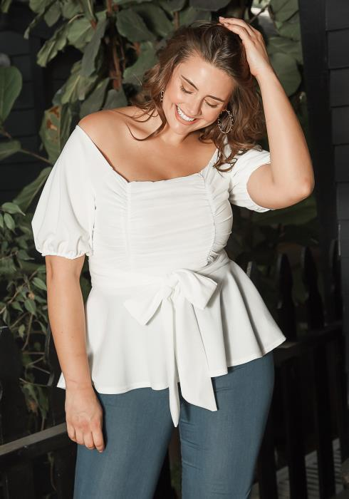 Asoph Plus Size Off Shoulder Chiffon Smocked Peplum Blouse
