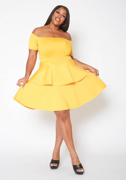 Asoph Plus Size Tiered  Off Shoulder Mini Fit & Flare Dress