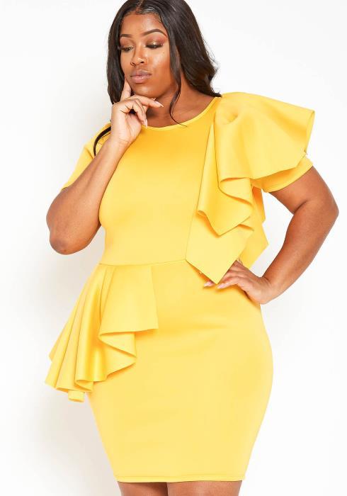 Asoph Plus Size Ruffle Hem Fancy Bodycon Mini Dress