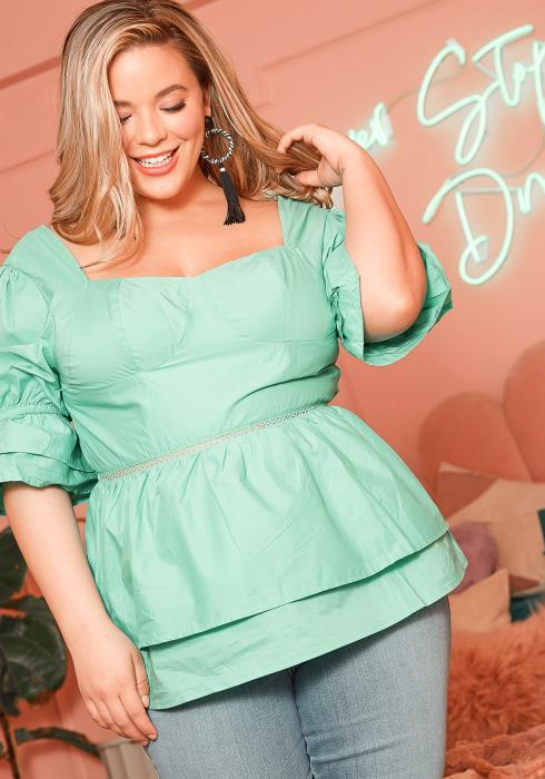 Asoph Plus Size Mint Green Square Neck Top