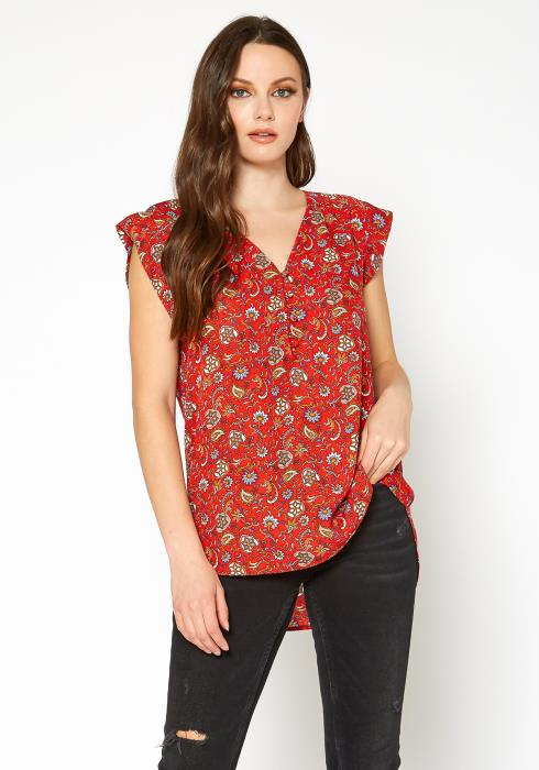 Tansy Printed Sleeveless Button Front Blouse