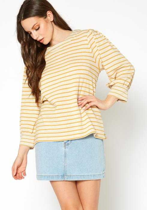 Bellatrix Womens Stripe Button Back Top
