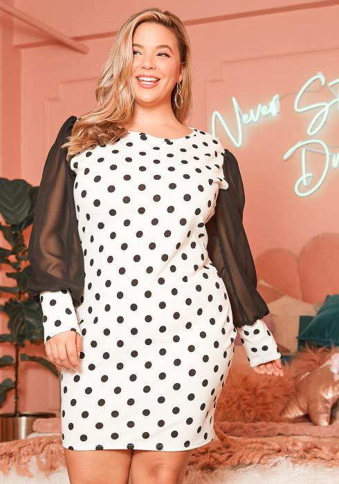 Asoph Plus Size White Polka Dot Chiffon Sleeve Dress