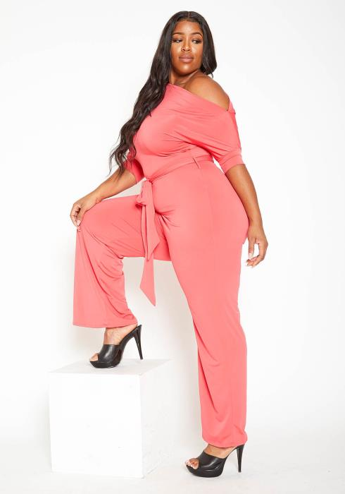 Asoph Plus Size Cold Shoulder Straight Leg Jumpsuit