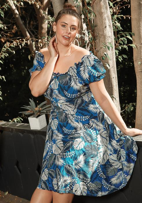 Asoph Plus Size Aloha Leaf Print Fit & Flare Dress