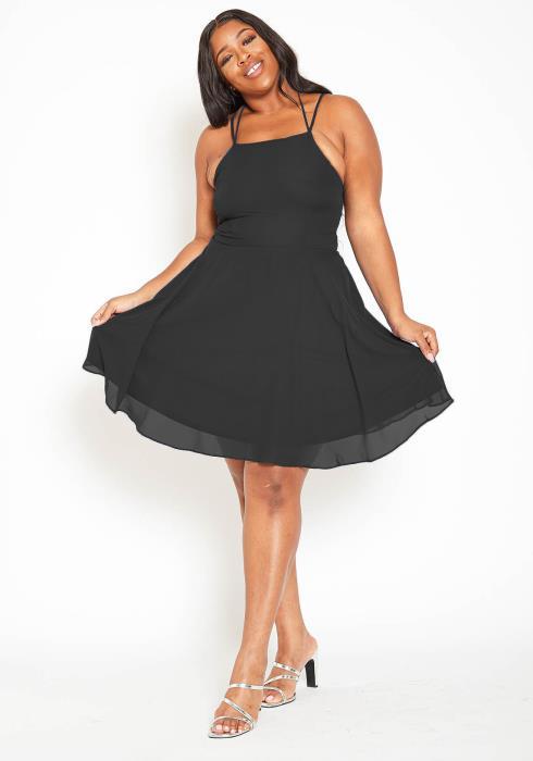 Asoph Plus Size Open Cross Lace Back Fit & Flare Mini Dress
