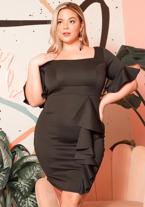 Asoph Plus Size Special Evening Black Mini Dress