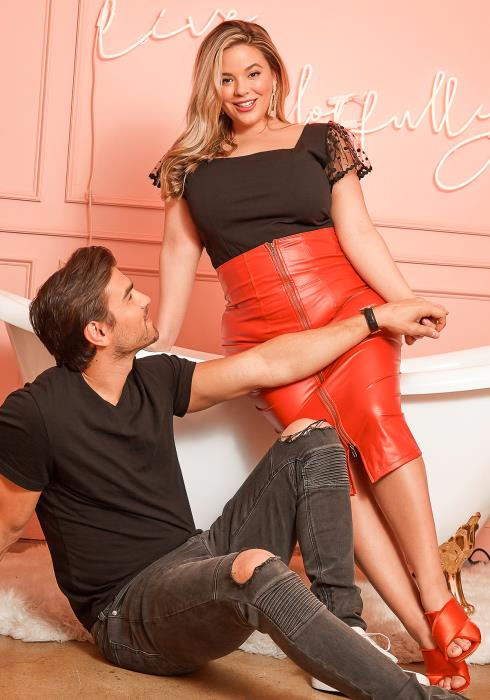 Asoph Plus Size Red High Waist PU Matte Leather Midi Skirt