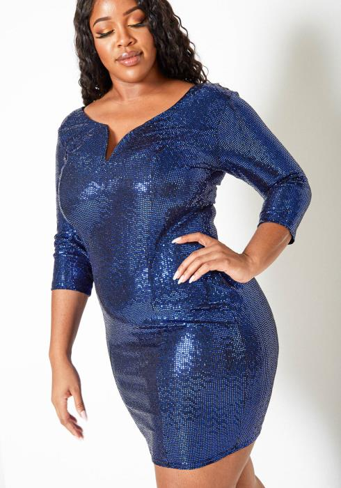Asoph Plus Size Party Sequin V Split Bodycon Mini Dress
