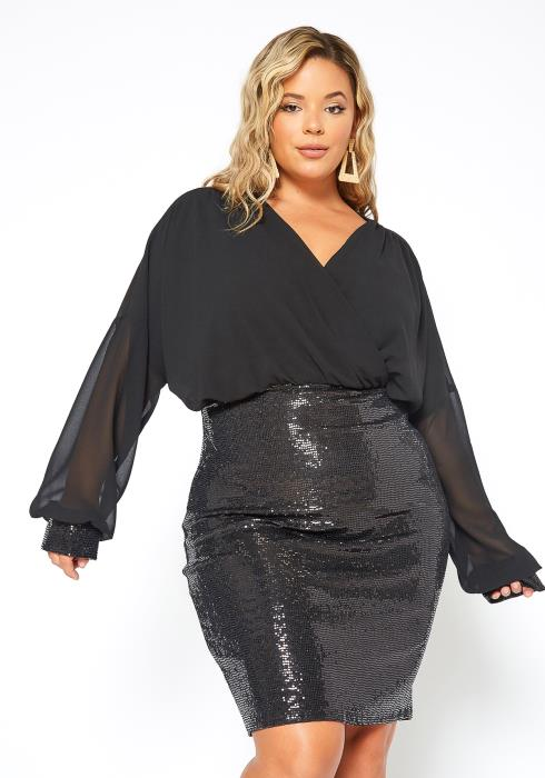 Asoph Plus Size Half Red Sequined Long Sleeve Dress