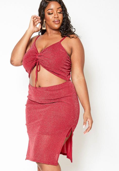 Asoph Plus Size Front Split Cut-out Shimmer Party Dress