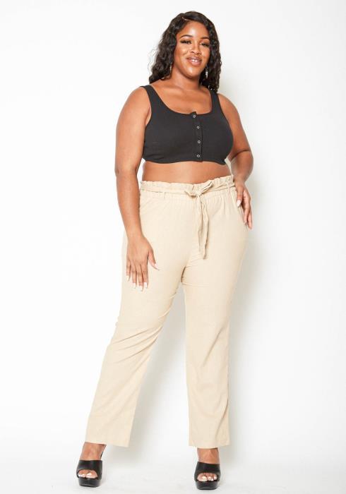 Asoph Plus Size Low Rise Paperbag Waist Linen Pants