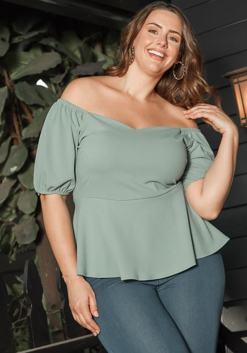 Asoph Plus Size Simplicit Off Shoulder Peplum Blouse