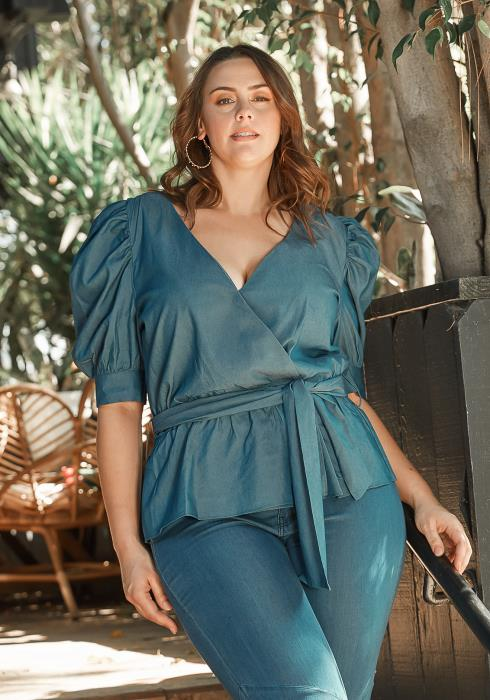 Asoph Plus Size Drama Shoulder Denim Peplum Blouse