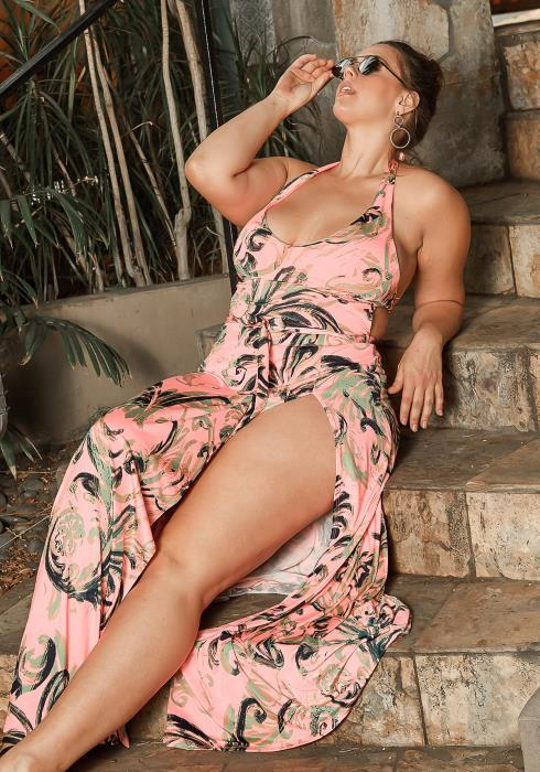 Asoph Plus Size Caribbean Sea Halter Bikini & Maxi Skirt Set