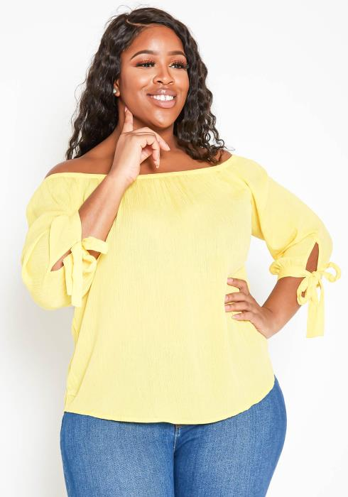 Asoph Plus Size Off Shoulder Long Sleeve Blouse