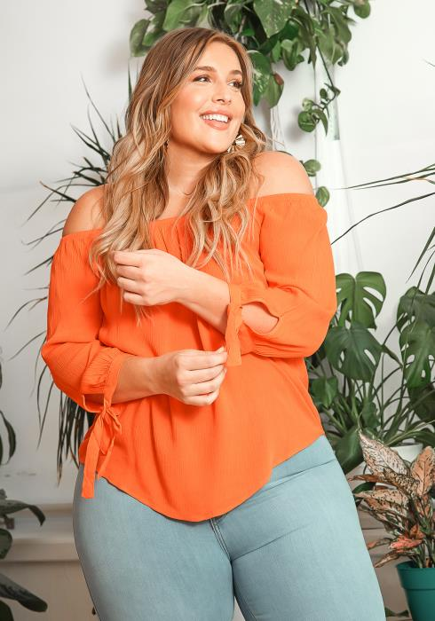 Asoph Plus Size Off Shoulder Long Sleeve Orange Blouse
