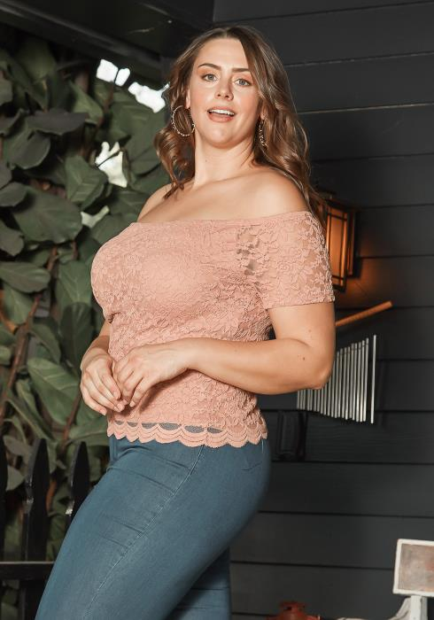 Asoph Plus Size Pink Floral Lace Off Shoulder Top
