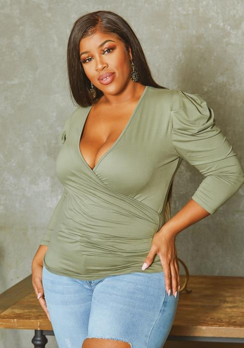 Asoph Plus Size Ruched Shoulder Hem V Neck Top