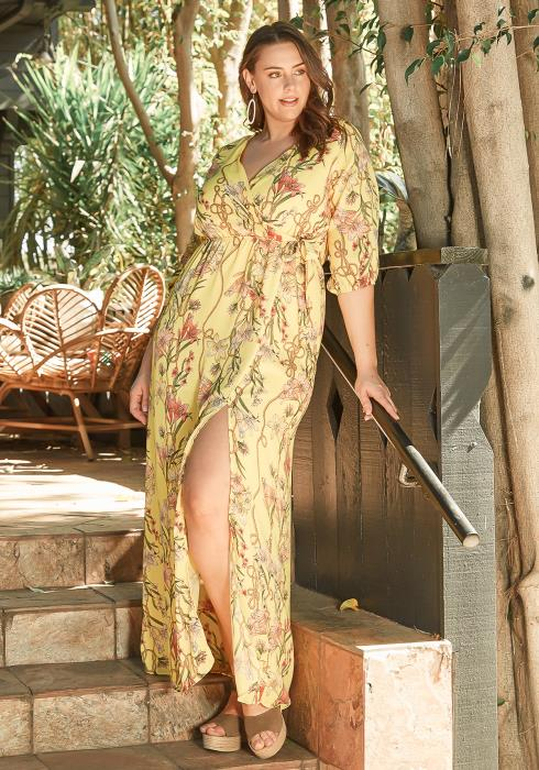 Asoph Plus Size Sunny Spring Floral Maxi Dress