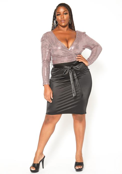 Asoph Plus Size Dreamy Satin Pencil Skirt