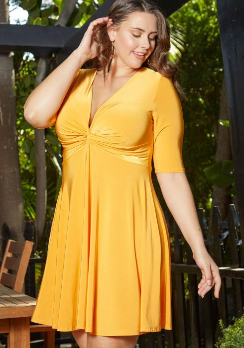 Asoph Plus Size Golden Twist Front Mini Flare Dress