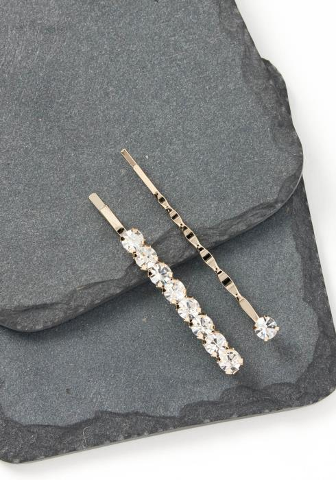 Adele Silver Diamond Stone Bobby Pin Set