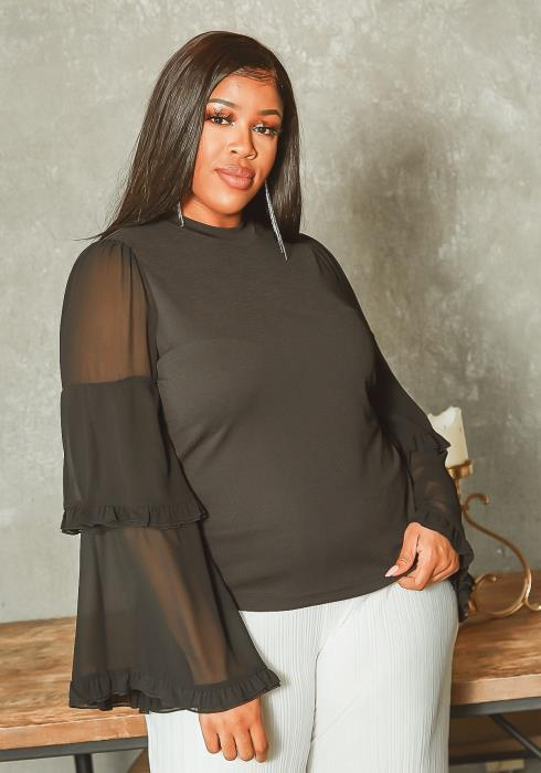Asoph Plus Size Tiered Mesh Bell Sleeve Elegant Blouse