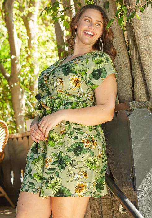 Asoph Plus Size Birds of Paradise Summer Mini Dress