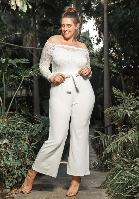 Asoph Plus Size Off Shoulder White Lace Jumpsuit