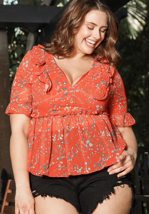 Asoph Plus Size Cherry Red Floral Print Blouse