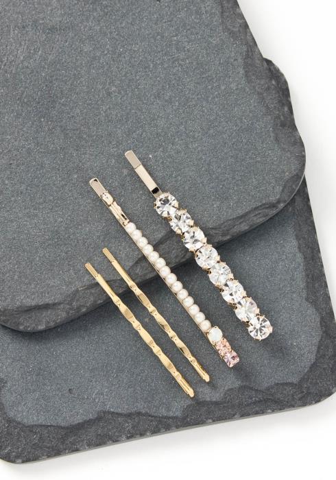 Eliza Quadruple Class Multi Diamond Bobby Pin Set