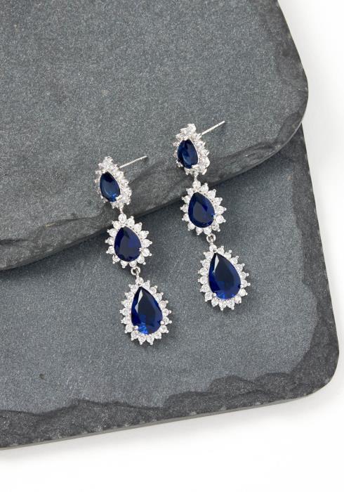 Lauren Navy Jewel Drop Earrings