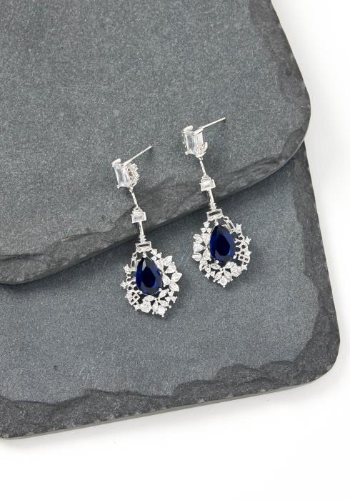 Eva Navy Crystal Drop Earrings