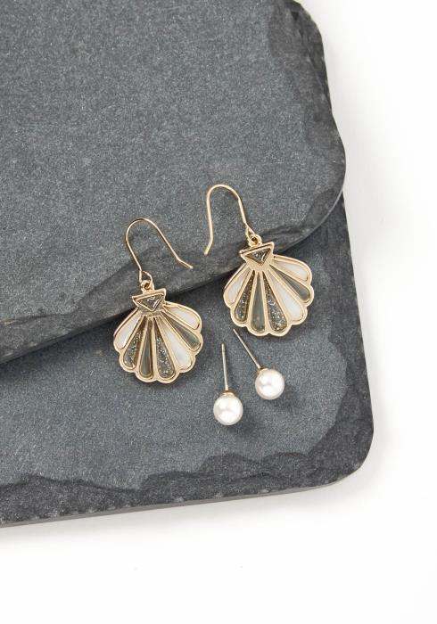 Pacifica Sea Shell & Pearl Set Earrings