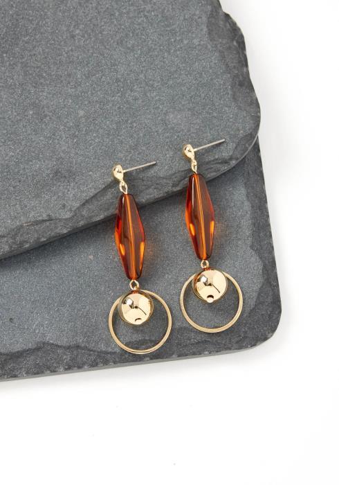 Carina Brown Bead Drop Earrings