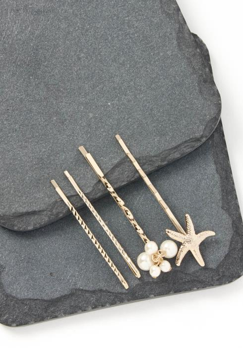 Malibu Seastar Quadruple Gold Bobby Pin Set