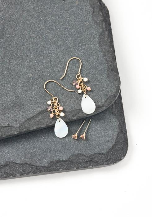 Iris Pink Mini Bead Iridescent Drop Earring Set