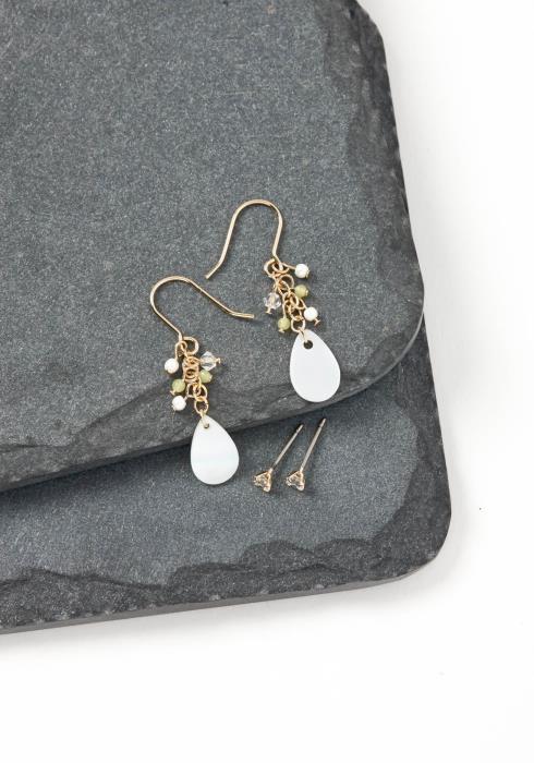 Iris Yellow Mini Bead Iridescent Drop Earring Set