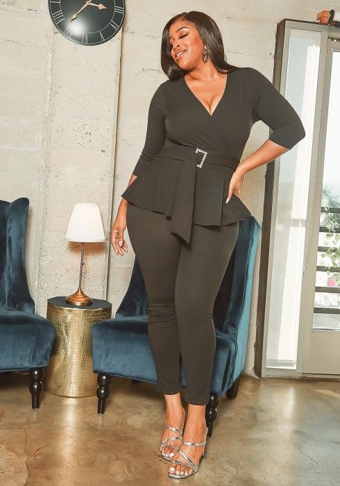 Asoph Plus Size Crystal Belted Formal Peplum Jumpsuit