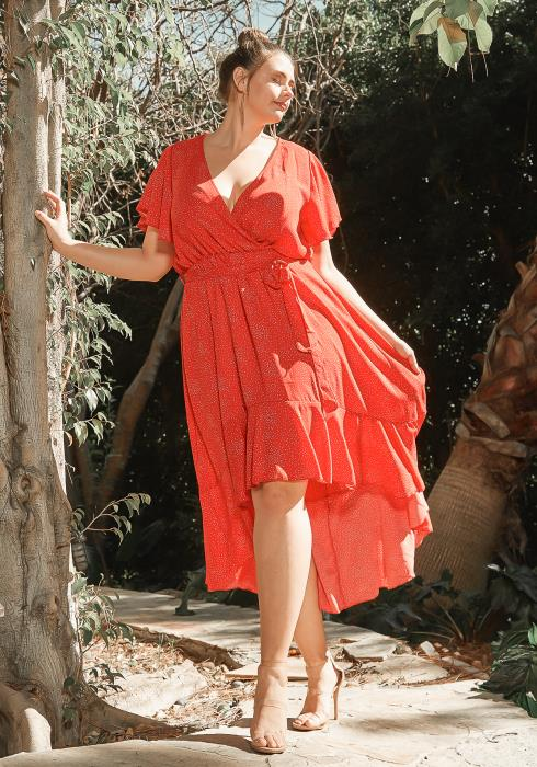 Asoph Plus Size Red Polka Dot High Low Midi Dress